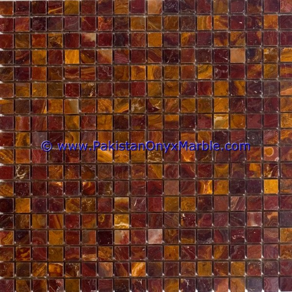 Onyx Mosaic Tiles Multi Red Square Diamond