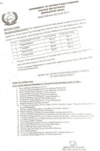 Finance Department KPK Govt Notification for Upgradation