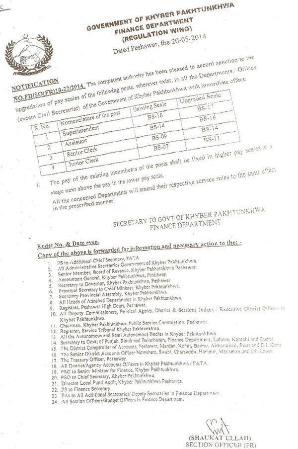 Finance Department KPK Govt issued notification regarding