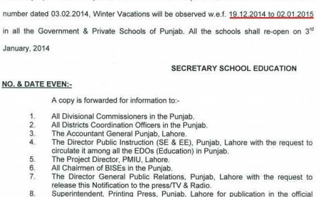 Revised Notification Punjab Schools Winter Vacations 2014