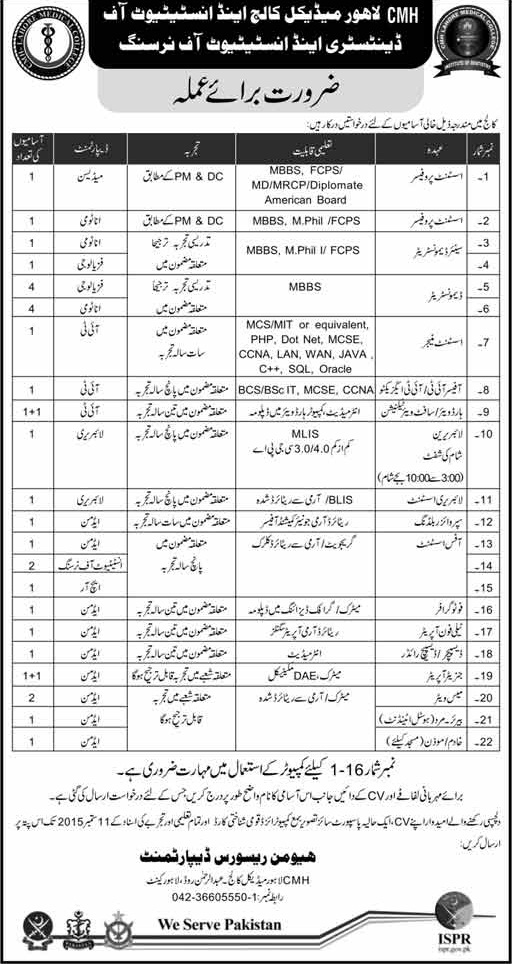 Jobs in CMH Lahore Medical College and Institute of
