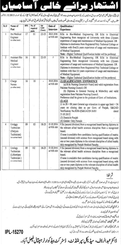 Jobs in DHQ Hospital Faisalabad