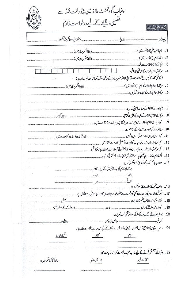 Punjab Government Educational Scholarship Stipend For Year