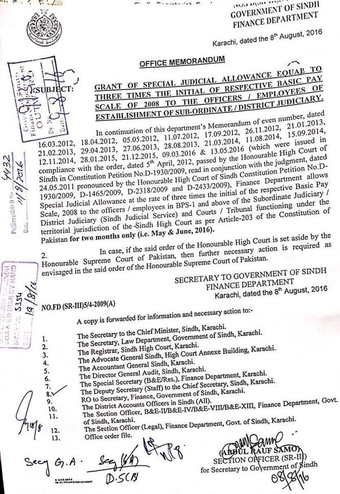 Special Judicial Allowance Notification for Employees of