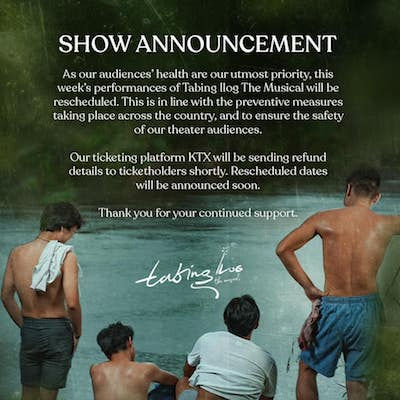 Tabing Ilog Musical postponed shows due to COVID-19
