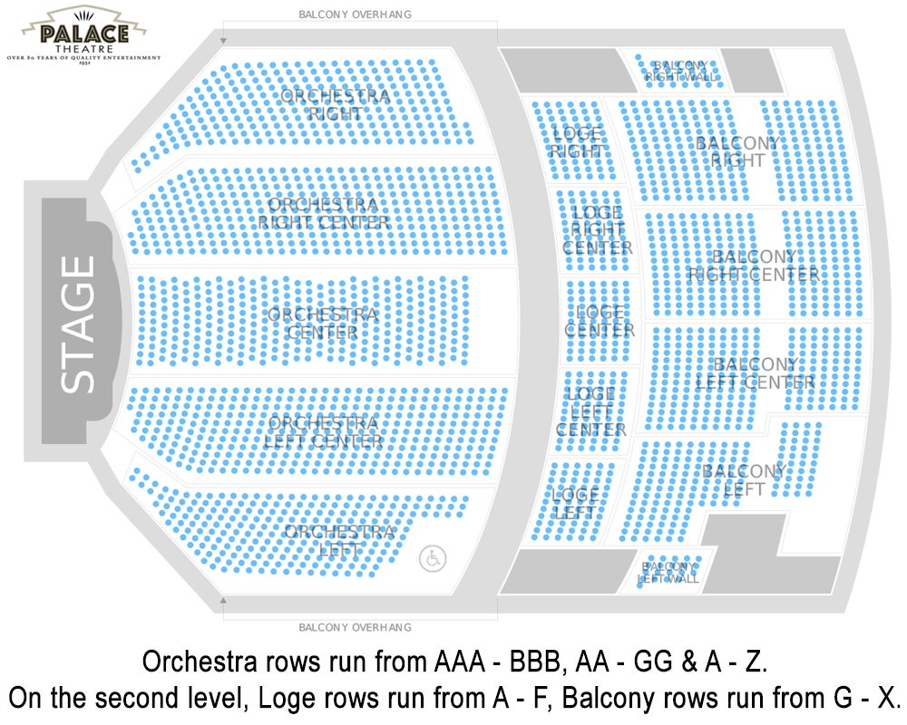 hight resolution of palace theatre seating chart