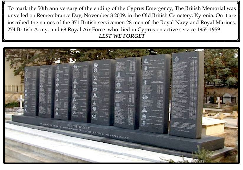 BRITISH MEMORIAL FOR 371 SERVICEMEN CYPRUS EMRGENCY 1955 -1959