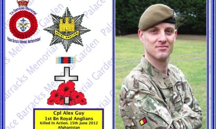 Cpl Alex Guy,  1st Battalion The Royal Anglian Regiment, Killed in Action  Friday 15 June 2012.