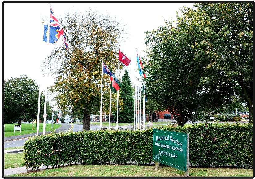 Flags of the Palace Barracks Memorial Garden in late October 2012