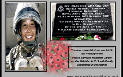 NEW MEMORIAL STONE DEDICATED TO CPL CHANNING AMANDA DAY, KIA AFGHAN 2012