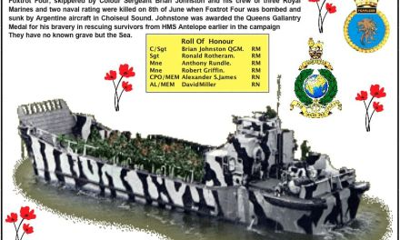 HMS Fearless LCU (Foxtrot Four) sunk 8th June 1982 Falkland Islands