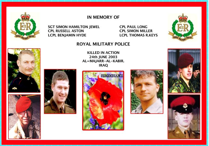 10TH ANNIVERSARY OF THE SIX ROYAL MILITARY POLICEMEN MURDERED IN IRAQ