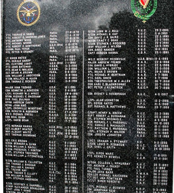 "1st Memorial Granite Tablet for the members of The RUC and Armed Forces killed in the Newry and Mourne District during ""The Troubles"""