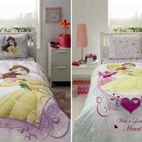 lenjerie de pat copii din bumbac Princess Belle Heart - Paladin Store
