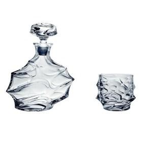 Set sticla si pahare cristal whisky Calypso