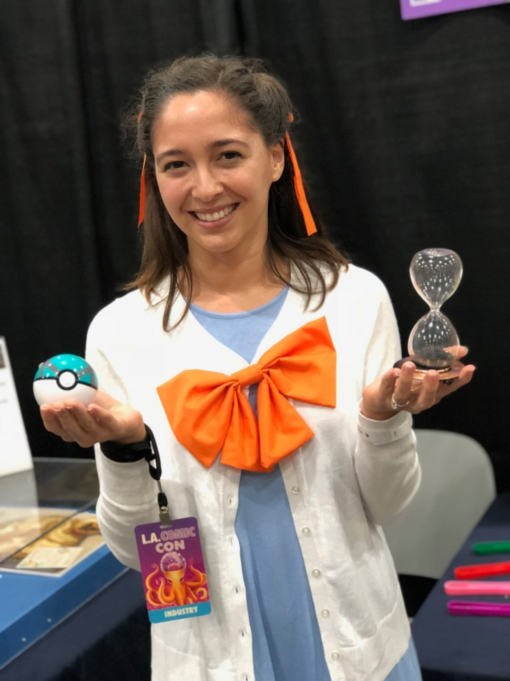 Figure 2 — PhD candidate and Cosplay for Science member, Kellen Kartub, cosplaying as Gym Leader Jasmine, a Pokemon Trainer that specializes in steel-type Pokemon. She gave a demo on the properties of magnetism, which is something steel-type and electric-type Pokemon use.