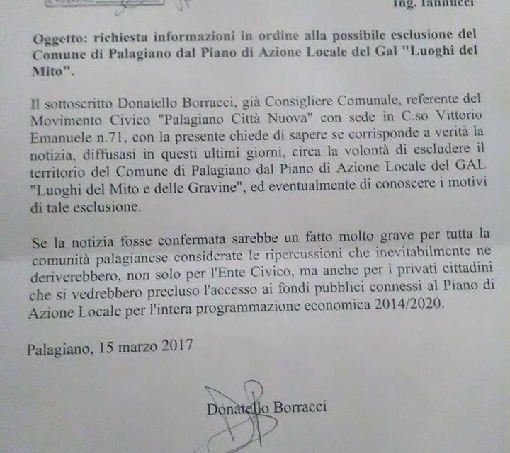 """Borracci: """" Palagiano escluso dal GAL, se la notizia fosse confermata sarebbe un fatto molto grave per tutta la comunità"""