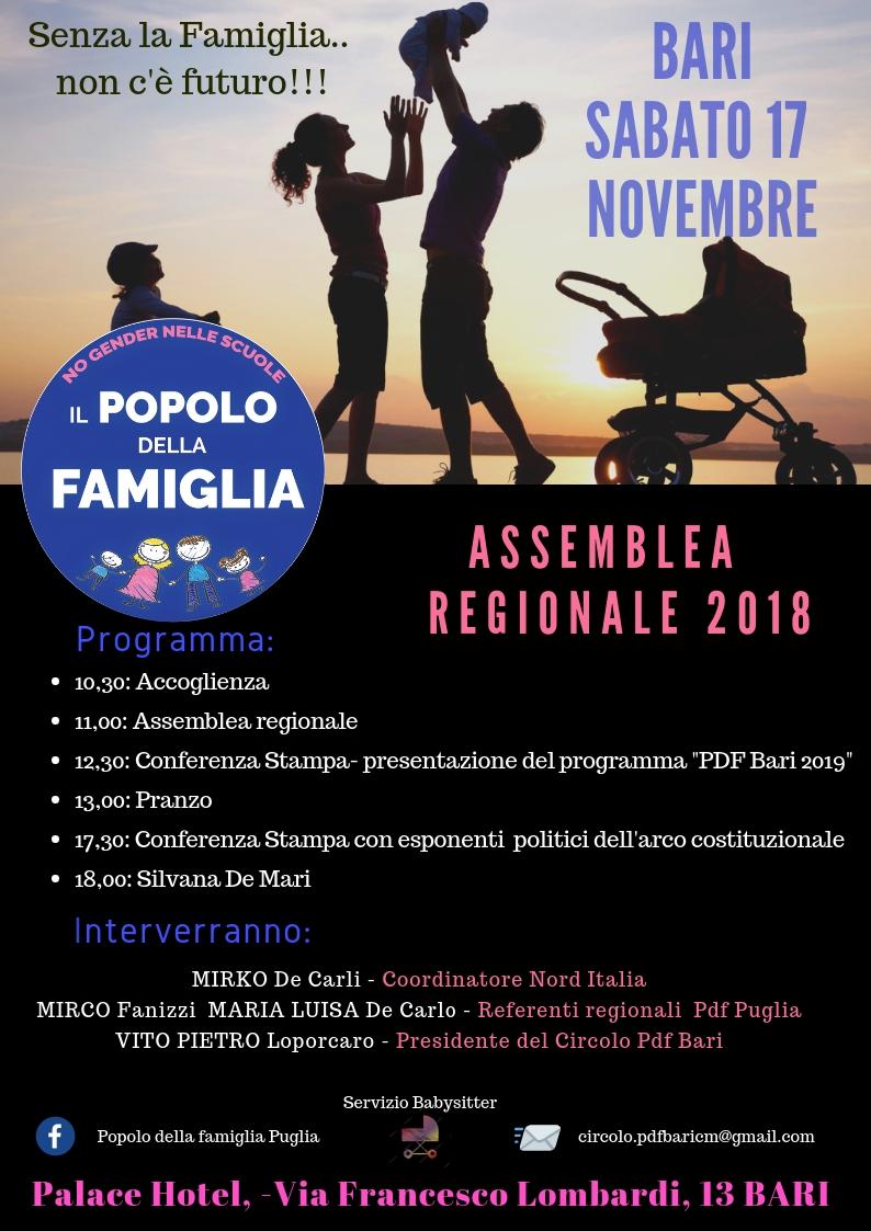 """IL POPOLO DELLA FAMIGLIA di PALAGIANO: """"PRESENTE ALL'ASSEMBLEA REGIONALE A BARI""""."""