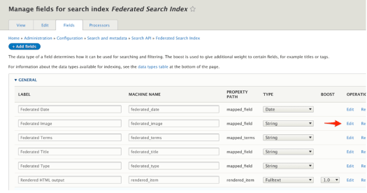 Manage fields for search index