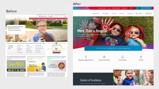 Before and after of homepage