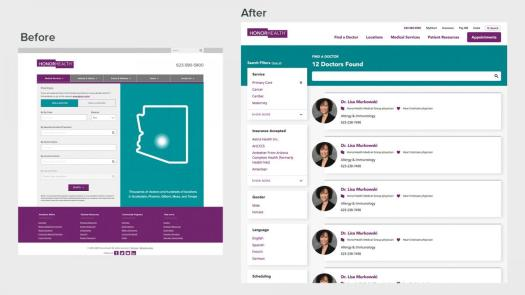 Physician search before and after