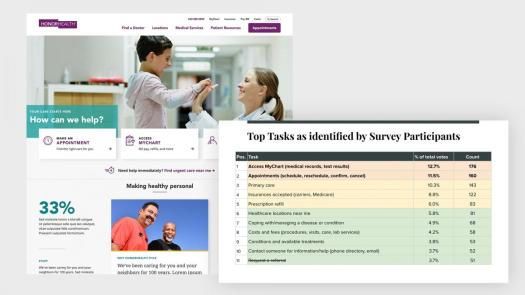 Chart of Top tasks as identified by survey participants