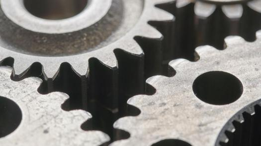 Photo of interlocking metal gears
