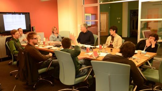 Photo of Drupal Association board and advisors meeting at Palantir's office in March of 2011