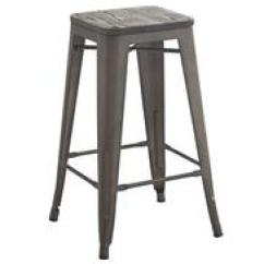 Industrial Kitchen Stools Granite For And Bar Distressed Grey 26 Inch Wood Metal Stool