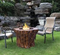 Faux wood log propane gas fire pit table