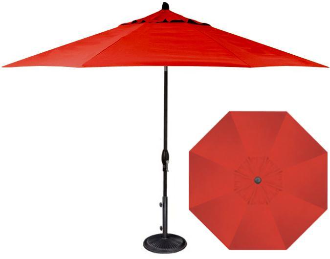 red 11 foot octagonal patio umbrella