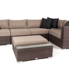 6 Piece Modular Sectional Sofa Corner Table Garden Liana Patio Furniture Set Java
