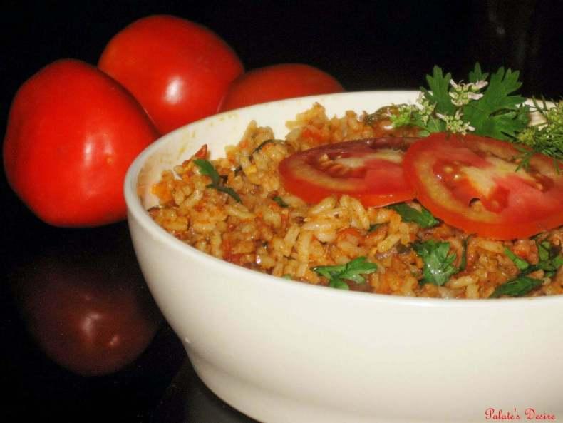 Tomato Bath Recipe | Easy Tomato Rice Recipe in Pressure Cooker