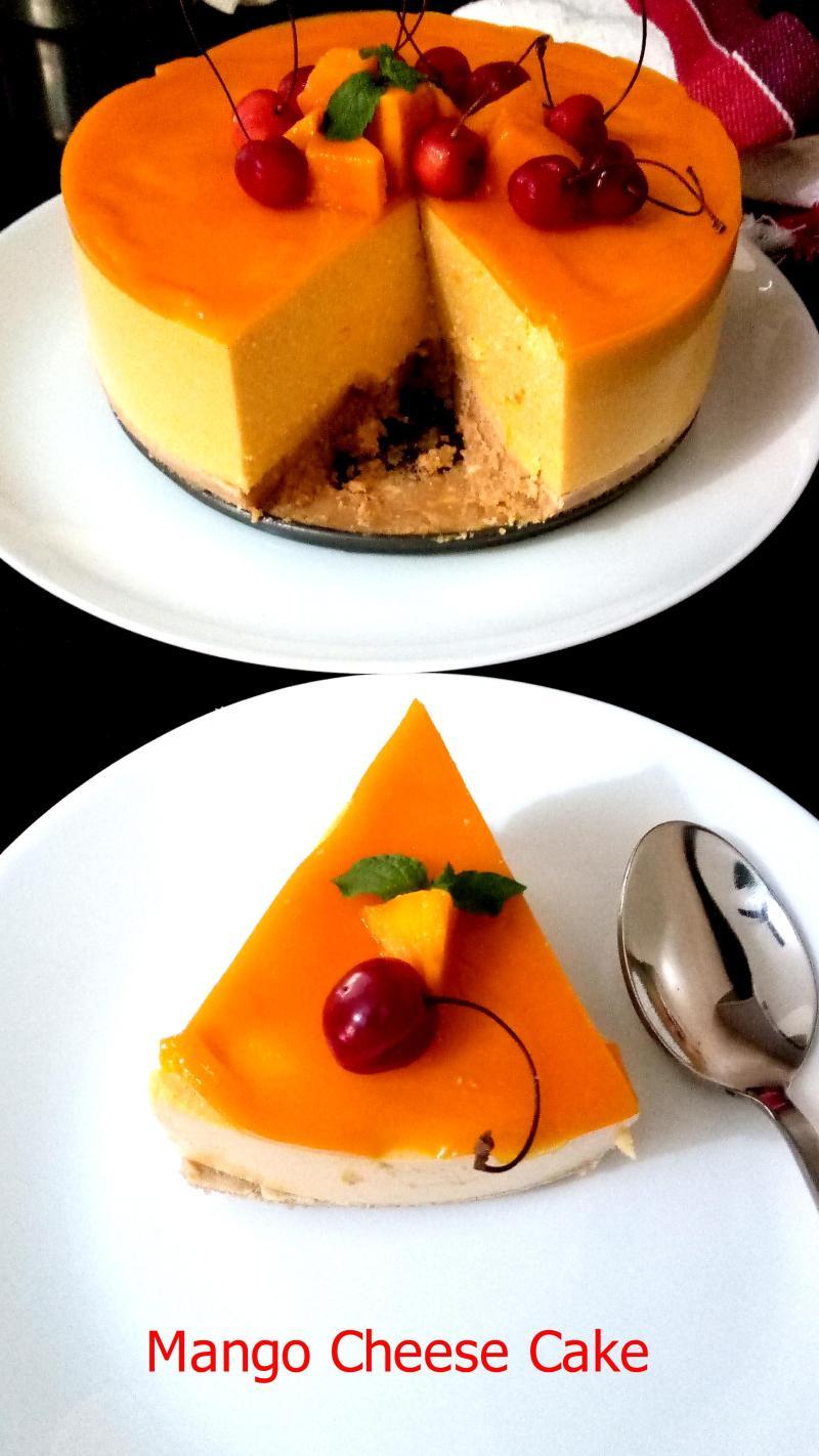 Mango Cheese Cake | No Bake-Mango Cheese Cake