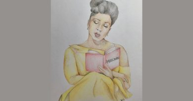 Illustration of Chimamanda Ngozi Adichie, in a yellow dress, holding up a novel