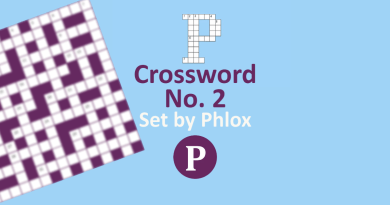 Crossword No 2 Banner - Text: Crossword No 2 Set by Phlox, logo of both Palatinate and Palatinate Puzzles, Blurred image of crossword board