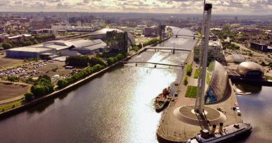 Glasgow from above, featuring the SEC where the COP26 climate summit will be held.
