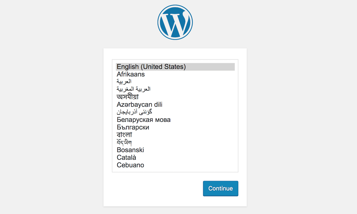Choose the language in which to install WordPress
