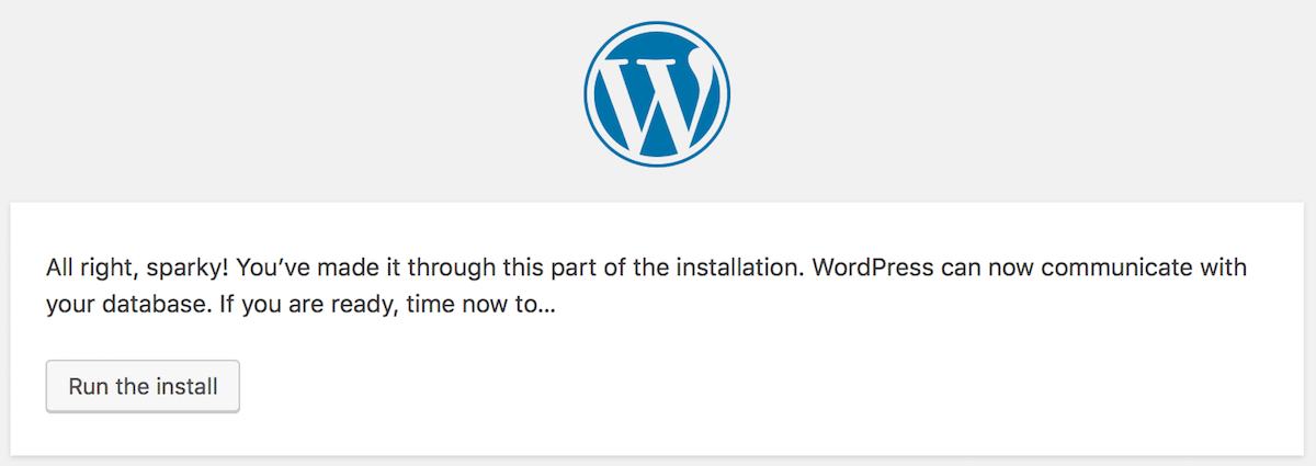 Run the install of WordPress | Palawan Digital