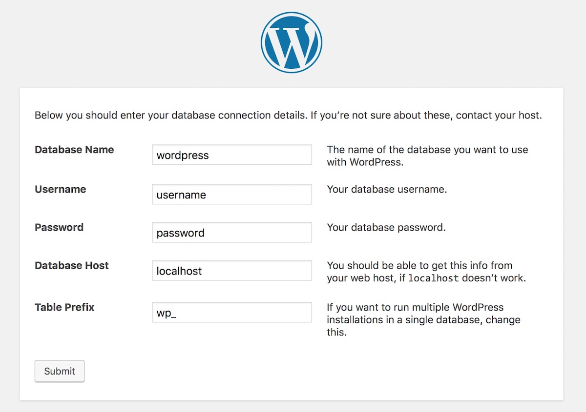 WordPress Install - Indicate the name, username, password and host of the database |Palawan Digital
