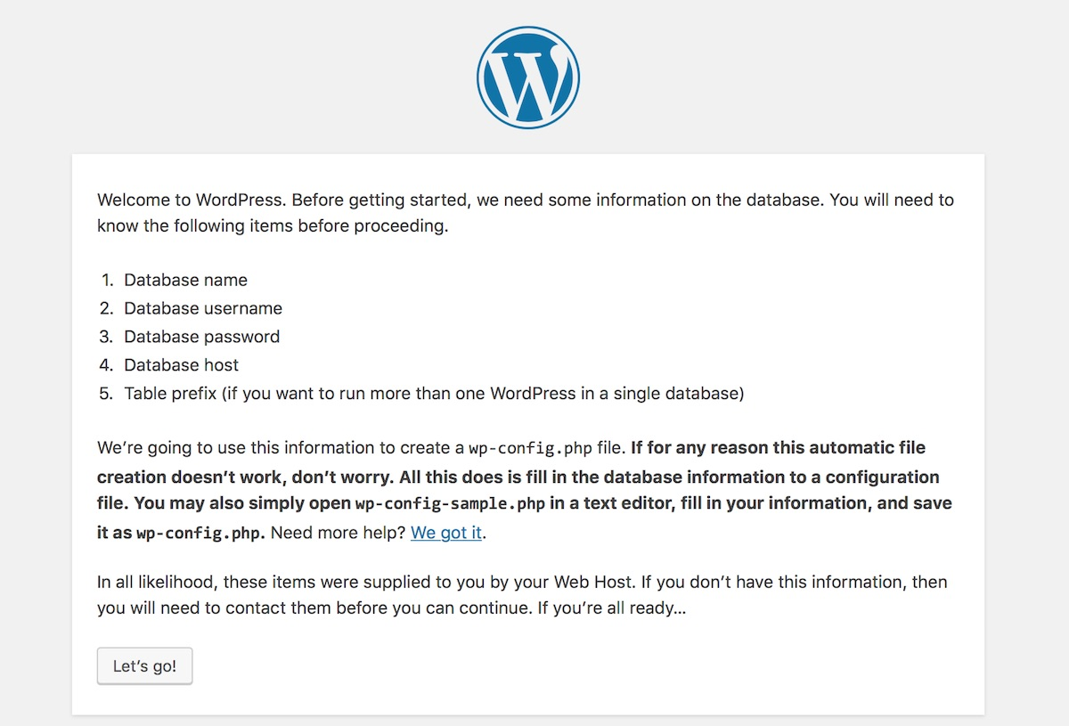 WordPress installation: Let's Go! | Palawan Digital