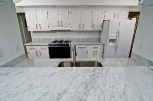carrara quartz worktop and kitchen island