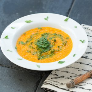 Carrot Soup with Carrot Top Garlic Pesto