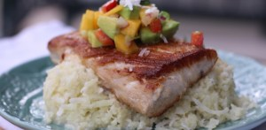 Pan Seared Mahi Mahi over Sticky Coconut