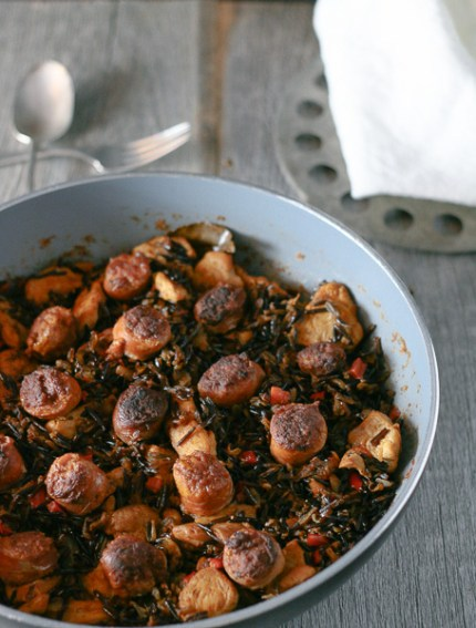 Delicious and easy-to-make Paleo Paella! Made with wild rice, chorizo, and saffron, this aromatic dish is sure to please!