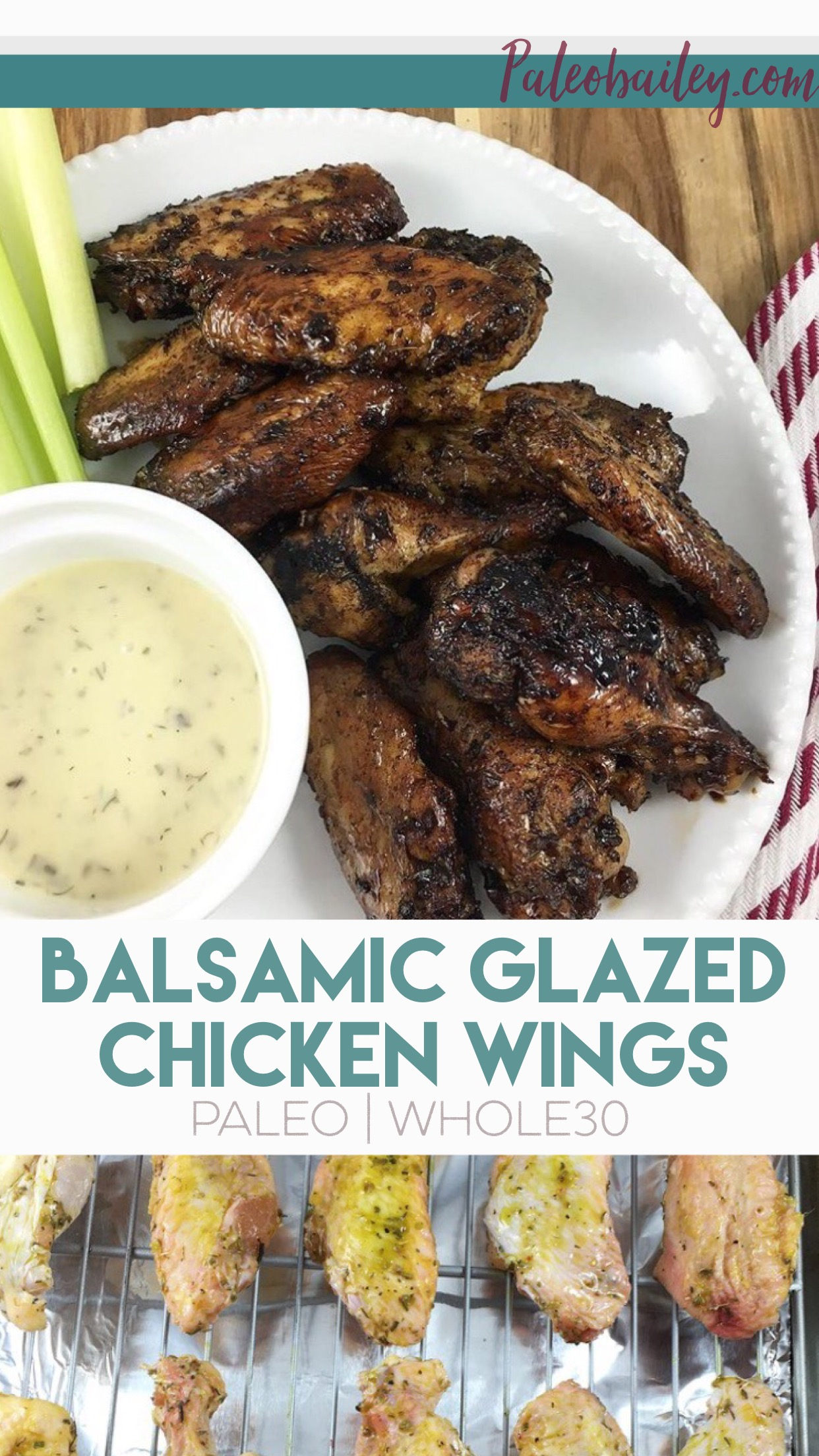 Whole30 and Paleo Balsamic glazed chicken wings with 6 ingredients you already have!