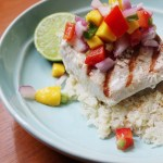 Grilled Mahi-Mahi with Mango Salsa and Coconut Cauliflower Rice