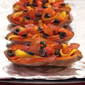 Paleo Pizza Sweet Potato Skins