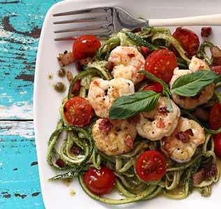Paleo Shrimp & Pesto Zucchini Noodles