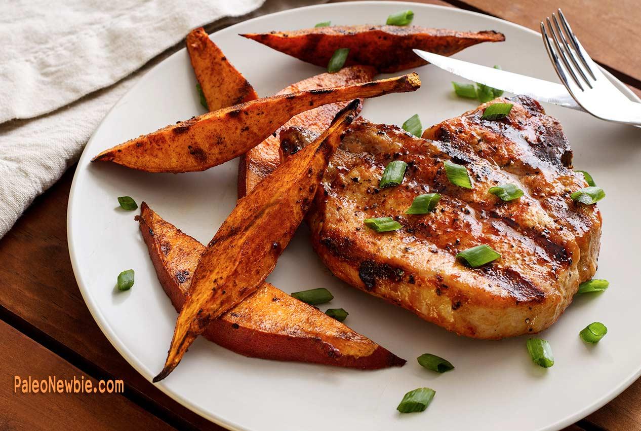 Paleo Grilled Pork Chops Sweet Potato Wedges Paleo Newbie